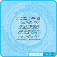 Dawes Super Galaxy Decals Bicycle Transfers - Black - Set 8