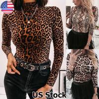 Womens Ladies Leopard Snake Print Turtleneck Long Sleeve Tops Blouse T-Shirt US