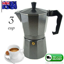 NEW 3 CUP ESPRESSO Coffee Black Percolator Perculator Charcoal Moka Stove Top