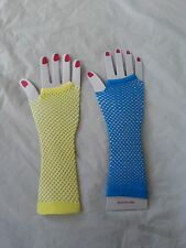 Blue/ Yellow Long Fishnet  Fingerless Gloves  Dance Party Costume Accessories
