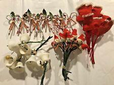 Vintage Christmas Spun Cotton Pipe Cleaner Stocking Elf Bell CandyCane Japan Lot