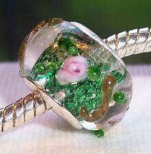 Green Glitter Pink Flowers Rose Glass Bead fits Silver European Charm Bracelets