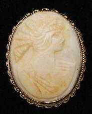 Antique 14K Gold Handmade Greek God Cameo Pin-back Brooch