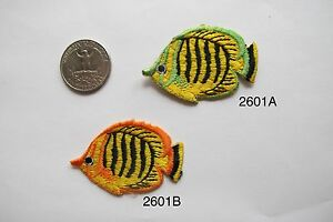 #2601 Orange,Green,Yellow Tropical Fish Embroidery Iron On Applique Patch