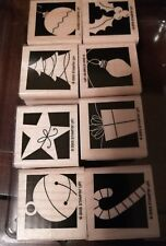 2005 Stampin' Up! Holiday Blocks 8-pc Rubber Stamp Set Sood Mounted New