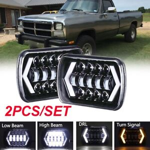 "Pair 7X6""  LED Headlights LED Light Sealed Beam For Chevy S10 Sonoma Dodge w250"