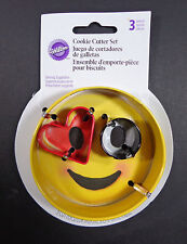 "3 pc Wilton Cookie Cutter Set 3.25"" Round 1.5"" Mini Heart 1"" Ring ❤️ EMOJI Love"