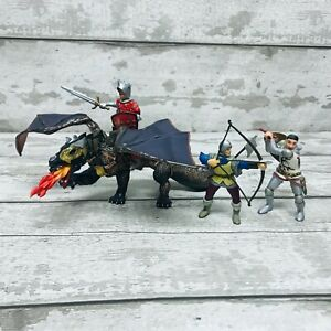 Papo Fantasy Mythical Dragon of Darkness & Knights Figures Toys Bundle