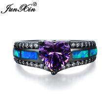 Heart Shape Purple Amethyst Ring Black Gold Blue Opal Wedding Jewelry Size 5-11