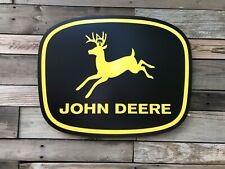 Antique Vintage Old Style John Deere Black And Yellow Farm Sign