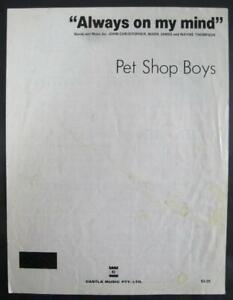 Pet Shop Boys ALWAYS ON MY MIND original sheet music Castle Music