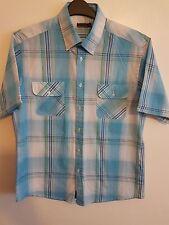 Mens Boys Gentlemans Blue & White Short Sleeved Shirt Size Large PIERRE CARDIN