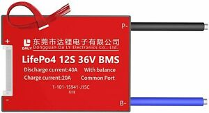 LiFePO4 BMS PCB 12S 36V 40A Daly Balanced Waterproof Battery Management System