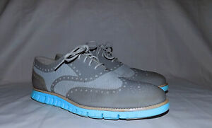 ZEROGRAND Cole Haan Textile tops Sport Dress shoes-Size 11M-Gray/Teal-Very Good!