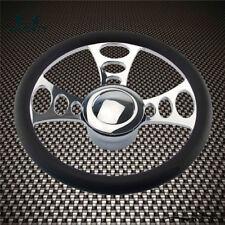 "14"" 9-Bolt Chrome Half Wrap PVC Steering Wheel+Horn Button& Adpter For Chevy/GM"
