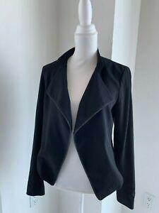 Theory Black Virgin Wool Drape Front Chain Trim Jacket SZ S