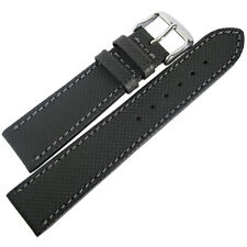 20mm Mens Fluco Nautilus Black Waterproof Leather German Made Watch Band Strap