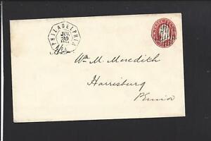PHILADELPHIA, PENNSYLVANIA 1861 STAR DIE NESBITT OCTAGON CL COVER TO HARRISBURG.