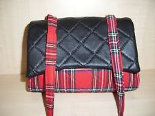 Royal Stewart box bag with genuine leather flap, quilted throughout & strap