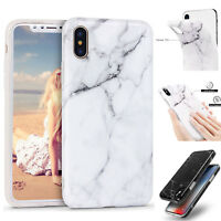 iPhone XS Max XR X 6 6s 7 8 Plus Hybrid Soft TPU Armor Case Cover Marble Pattern