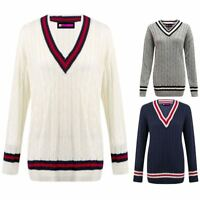 Ladies Cable Knitted Plain Cricket Jumper Womens Long Sleeve V Neck Sweater