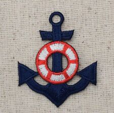 Iron On Embroidered Applique Patch Blue Anchor with Red White Life Preserver