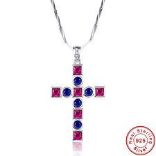 Women's Cross Jewelry Ruby Sapphire 100% S925 Sterling Gemstone Silver Pendants