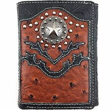Premium Western Cowboy Mens Wallet Brown Leather With Star Carved Design Wallet