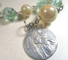 One Decade Car Rosary Vintage St Christopher Medal Upcycled Beads OOAK Gift