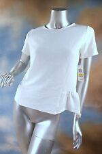 NEW BAR III washed white crepe modified peplum career blouse top shirt SZ: XL