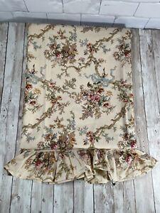 Ralph Lauren Tan Floral Ruffled King Sheet Rose Bouquet Branch Blue Ribbon VTG