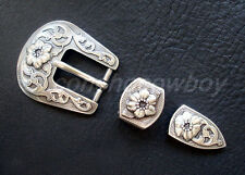 "WESTERN FLORAL ANTIQUE ENGRAVED Three Piece BELT BUCKLE SET FITS 3/4"" BELT strap"