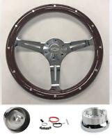 "Blazer C10 C20 C30 S10 Truck Dark Wood Steering Wheel 15"" Chrome Spokes Bowtie"