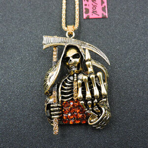 Fashion Gold Alloy Crystal Death Skull Betsey Johnson Pendant Necklace