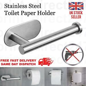 Stainless Steel Toilet Roll Paper Holder Strong Self Adhesive Stick Wall Mount