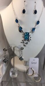 Faux Opal Crystals Necklace, Earrings. NEW.