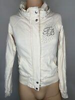 Ted Baker Hoodie Ladies Womens Cream Full Zip Jumper Jacket 10 12 Spring Summer