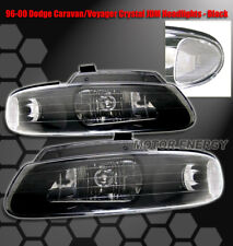 96-00 GRAND CARAVAN TOWN COUNTRY VOYAGER CRYSTAL HEADLIGHTS LAMPS BLACK 97 98 99