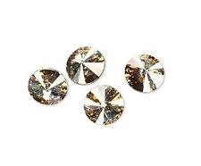 6 Crystal Golden Shadow Swarovski Foiled 1122 Rivoli Stone 12mm