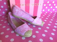 Victoria's Secret Canvas Espadrille Flats Slip On Walking Lounge Shoes 7.5