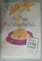 Kellogg's Cereal Ad: Bananas and Corn Flakes ! 1939 Size: 11 x 15 inches