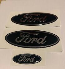 Ford Focus ST Line Gel Badge Overlay Full Set, Black Chrome