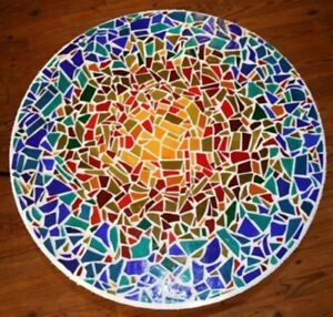 36'' Marble Table Top Inlay Mosaic Arts Living Room Decor