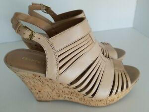 Franco Sarto Cork Women's Leather Upper Wedge Peep Toe Slingback Shoes 12M YJ01