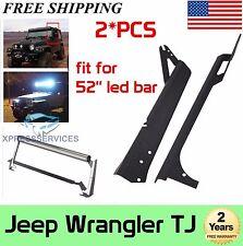 "97-06 Jeep TJ Wrangler Steel Windshield Mounting Brackets for 52"" LED Light Bar"