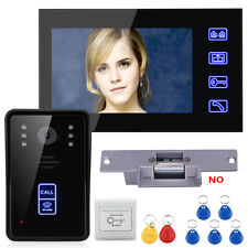 "7""LCD RFID Video Door Phone Intercom Doorbell Touch Button +Electric Strike Lock"