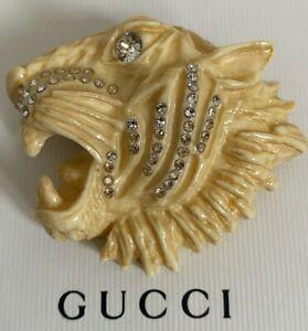 NIB Gucci Rajah Large Tiger Head Logo Crystal Ivory Color Resin Pin Brooch $890