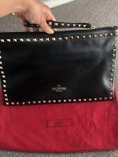VALENTINO Black Rockstud Wristlet Clutch Bag