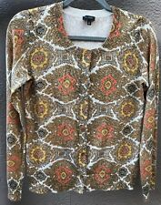 TALBOTS SMALL CORAL GOLD METALLIC CARDIGAN SWEATER OVER BLOUSE PEARLED BUTTONS