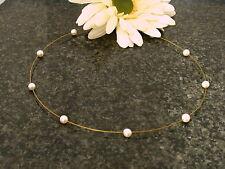 Echt 333 Gold Perlen Halsreif Kette Collier Süßwasserperlen Perlendraht Damen